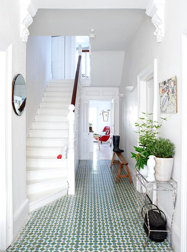 Modern Hallway With Encaustic Tiles   © Rachel Whiting/GAP Interiors