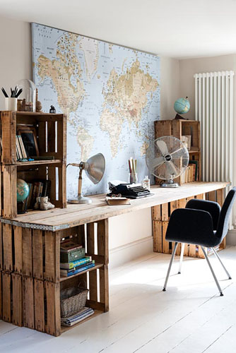 desk made from old wooden crates gap interiors blog. Black Bedroom Furniture Sets. Home Design Ideas