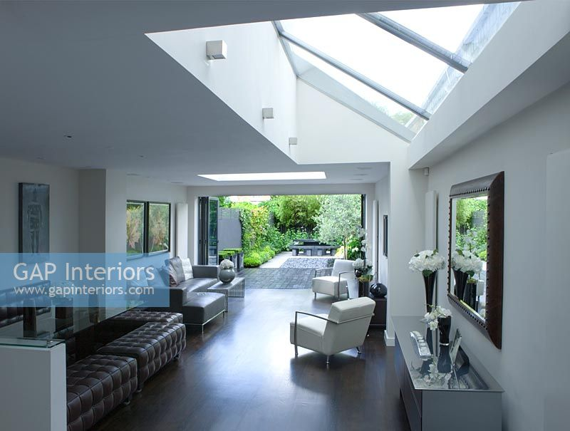 Plan Out A Room gap interiors - open plan living and dining room with skylight and