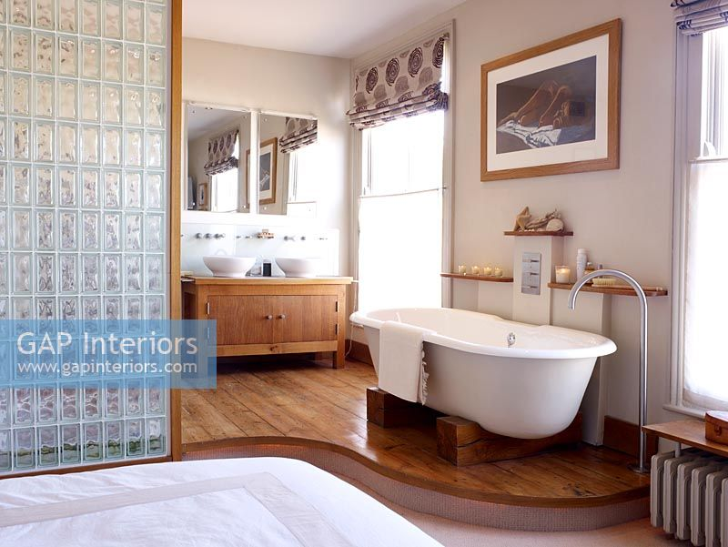 GAP Interiors Open Plan Modern Bathroom And Bedroom Freestanding Inspiration Bathroom Partition Glass Plans