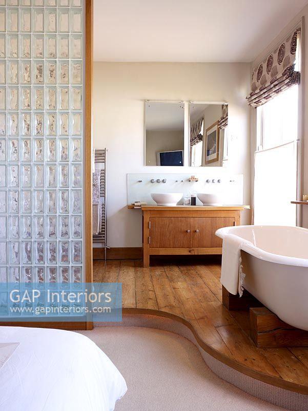 GAP Interiors Open Plan Modern Bathroom And Bedroom Freestanding Magnificent Bathroom Partition Glass Plans