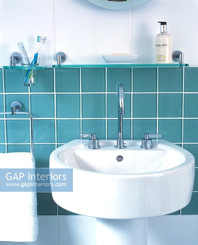 GAP Interiors - Detail of bathroom sink and tiled splashback - Image on glass for bathrooms, drawers for bathrooms, vanity tops for bathrooms, tiles for bathrooms, walls for bathrooms, lighting for bathrooms, countertops for bathrooms, appliances for bathrooms, fireplaces for bathrooms, waterproofing for bathrooms, shelves for bathrooms, mirrors for bathrooms, kitchen cabinets for bathrooms, storage for bathrooms, toilets for bathrooms, windows for bathrooms, flooring for bathrooms, doors for bathrooms, ceilings for bathrooms, art for bathrooms,