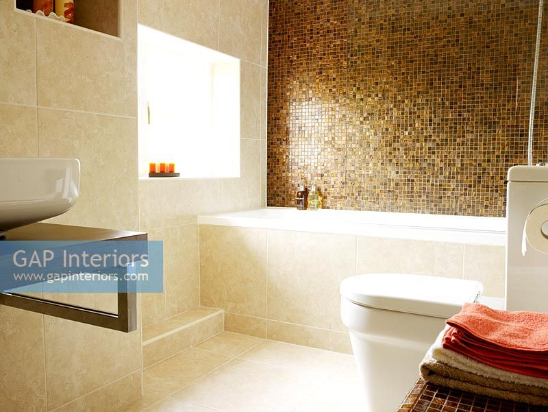 gap interiors view to modern bathroom with mosaic tiled feature rh gapinteriors com