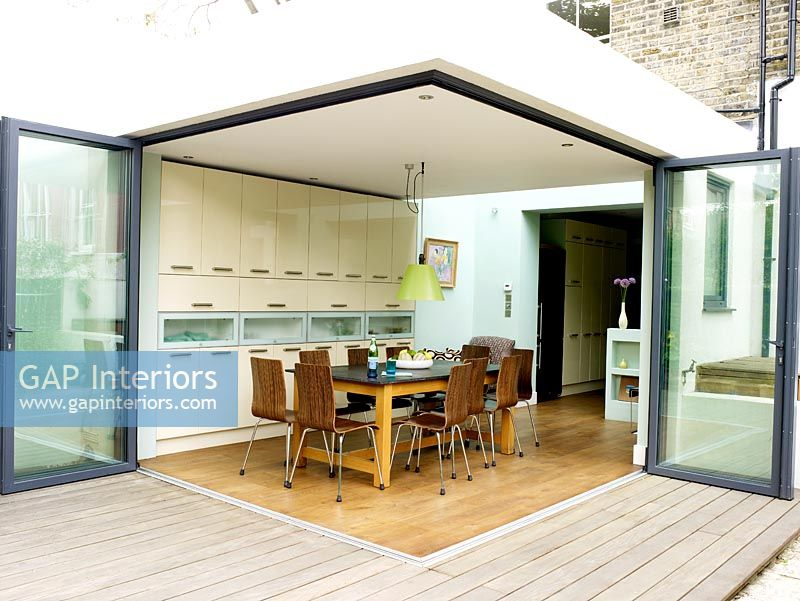 Gap Interiors Contemporary Kitchen With Patio Doors Open To Garden