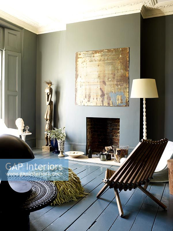 Gap Interiors Grey Living Room With Painted Walls And