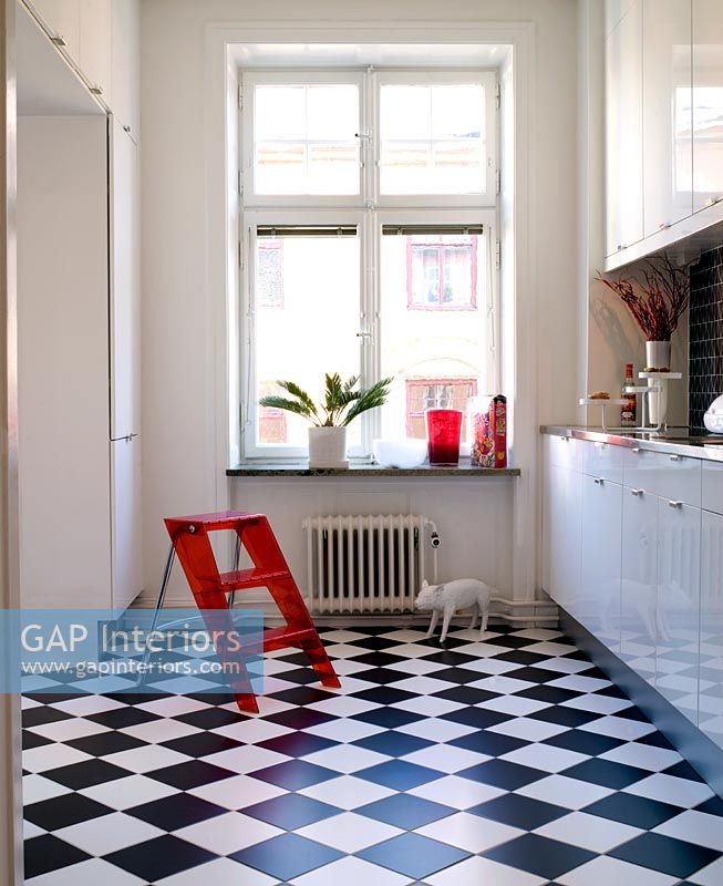Gap Interiors Modern White Kitchen With Checkered Black
