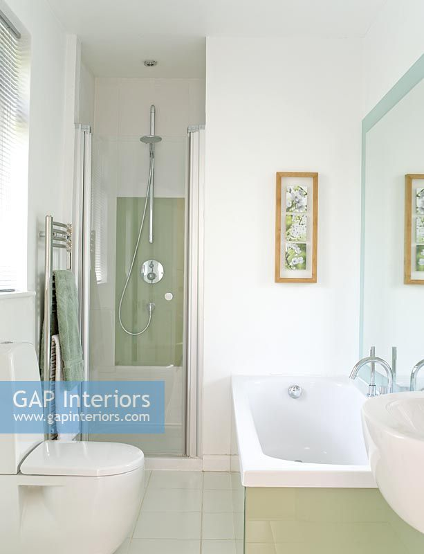 gap interiors modern bathroom with separate shower and an inside look