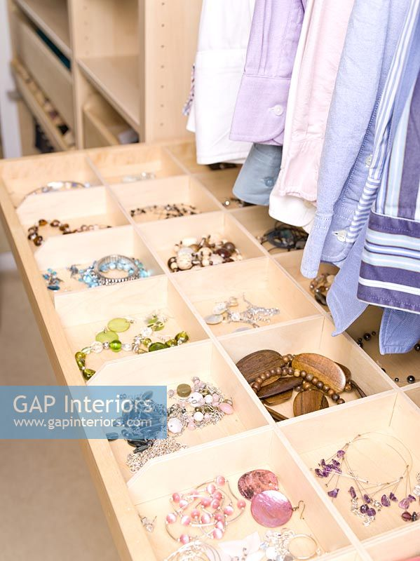 Storage compartments for jewellery in dressing room