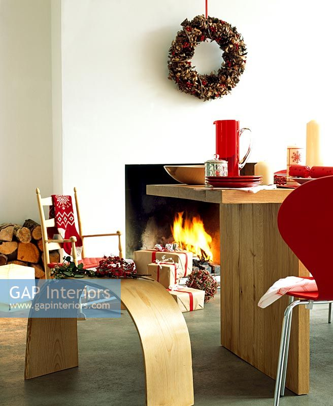 Modern dining room at Christmas