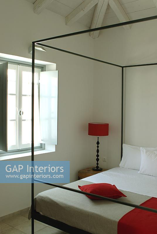 modern four poster bed