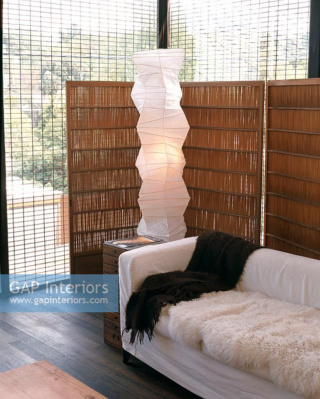 Modern Paper Floor Lamp: Modern Living Room With Rice Paper Floor