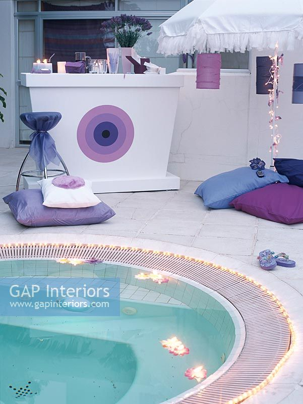 Gap Interiors Decorative Lights Beside Swimming Pool Image No 0032810 Photo By House