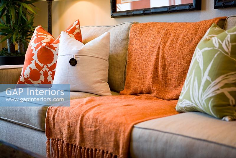 Comfortable Sofa With Orange Throw Blanket And Cushions