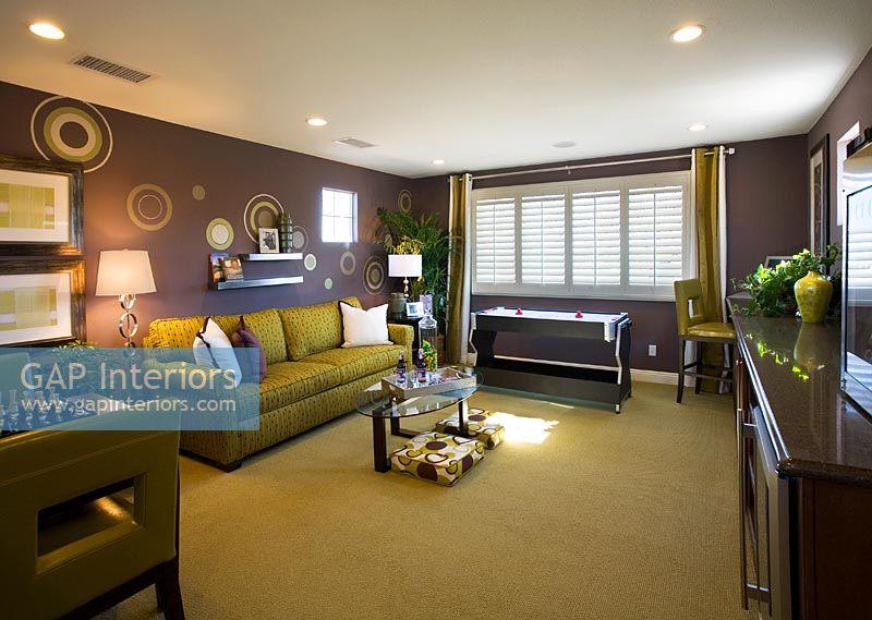 marvelous purple green living room   GAP Interiors - Contemporary purple and green living room ...