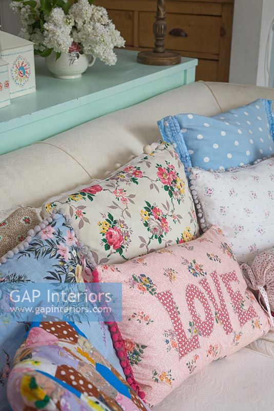 Collection of cushions on sofa