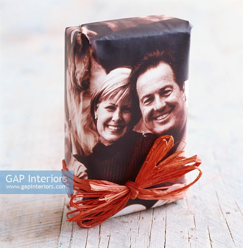 Present with a photo used as gift wrapping