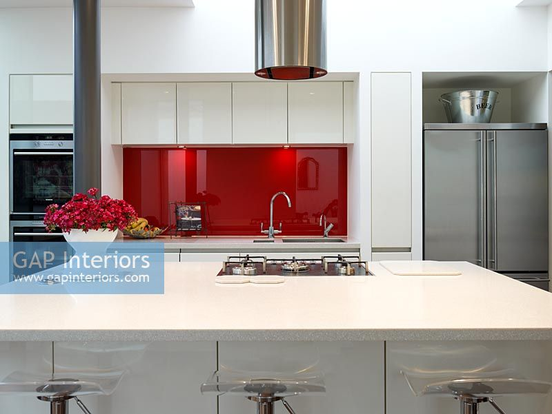 Modern kitchen with gas hob on island