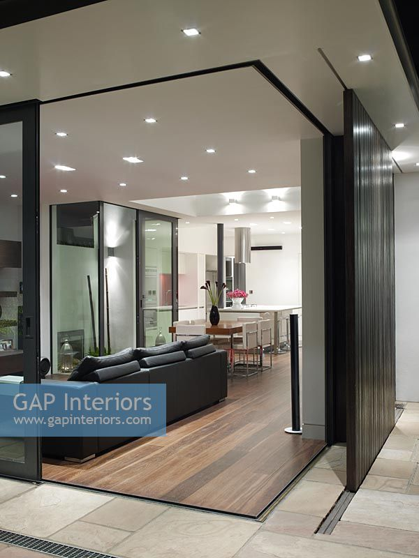 Gap Interiors View From Patio To Open Plan Living Room With