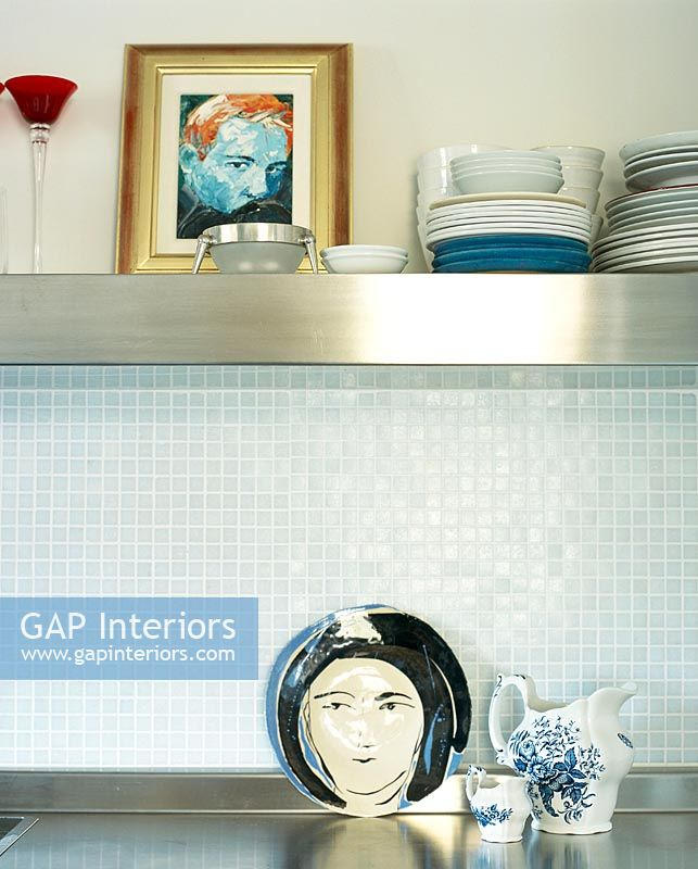 Gap interiors detail of tiled kitchen splashback image no 0038901 photo by house leisure - Glass splashbacks usa ...