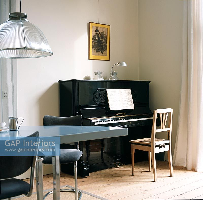 Piano in modern dining roomGAP Interiors   Piano in modern dining room   Image No  0041693  . Piano Dining Room Table. Home Design Ideas