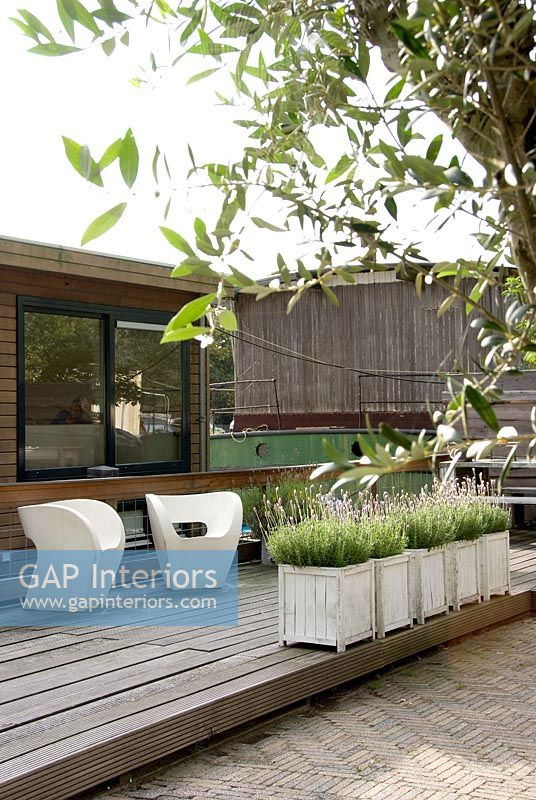 Modern garden chairs on decking
