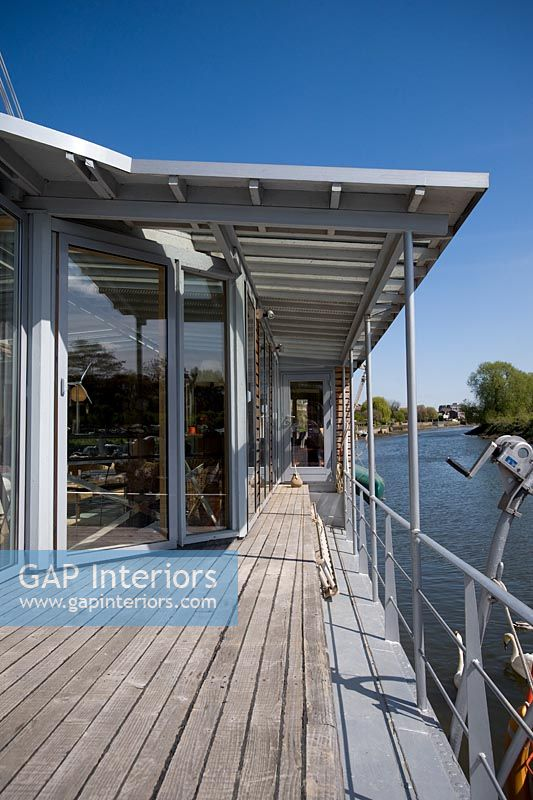 Deck of modern houseboat
