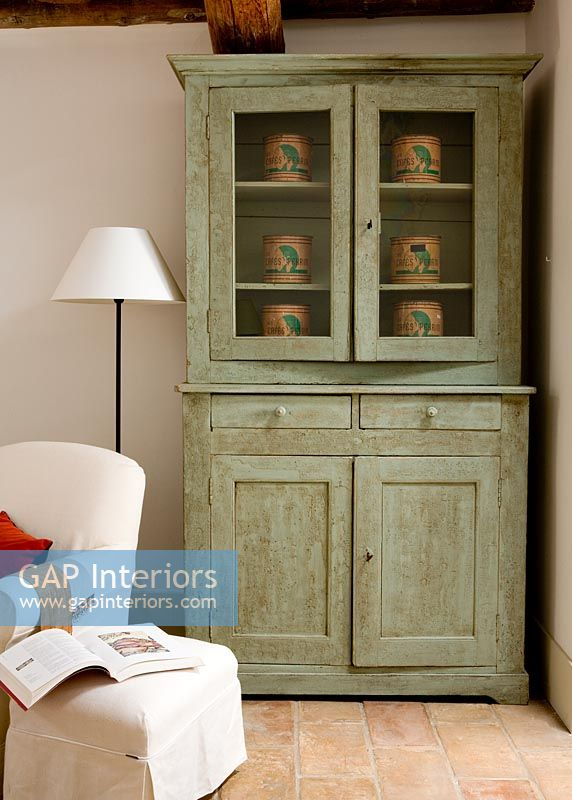 Distressed Green Dresser In Living Room