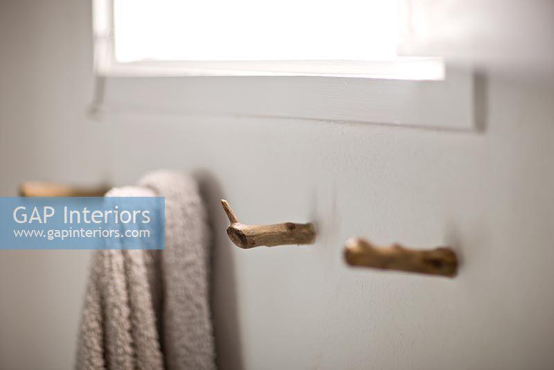 Gap Interiors Rustic Wooden Towel Hooks In Bathroom
