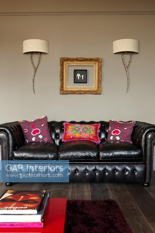 Leather settee in modern living room