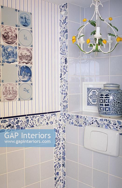 Decorative tiles in modern bathroom