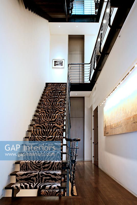 Modern Staircase With Animal Print Carpet