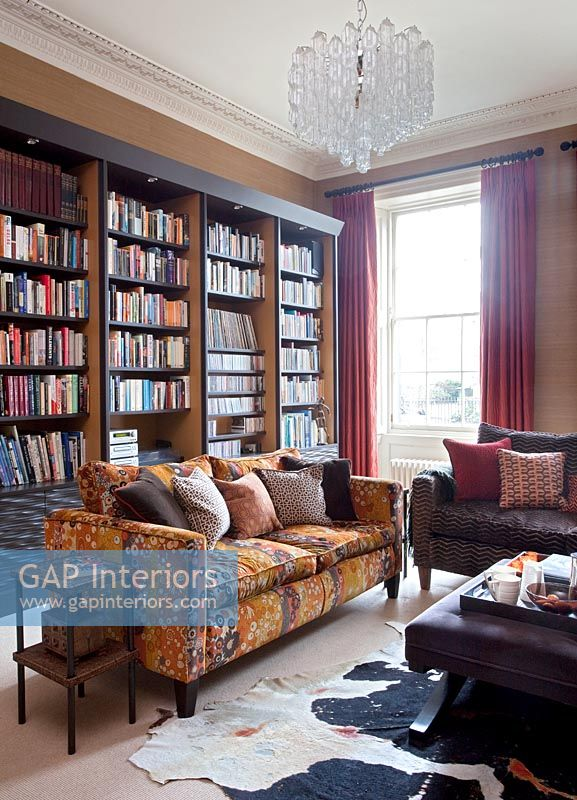 Large bookcases in classic living room