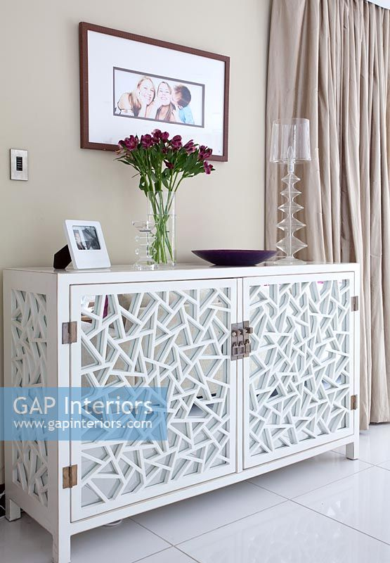 newest 40959 b6100 GAP Interiors - Modern living room with ornate sideboard ...