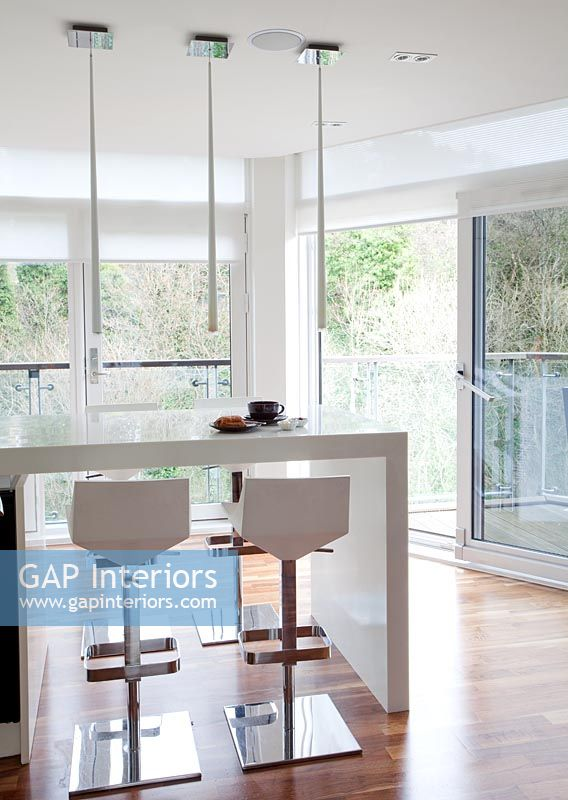 White Breakfast Bar gap interiors - modern white breakfast bar and bar stools - image