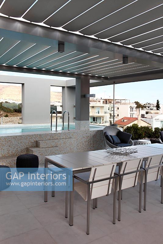 Gap Interiors Exterior Dining Area And Swimming Pool Image No 0050895 Photo By Costas Picadas