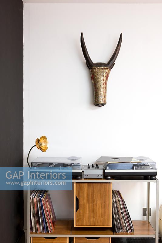 Decks and record storage under wall mounted antelope head