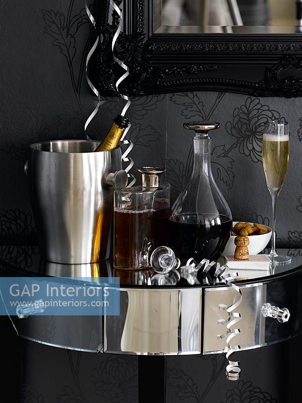 Drinks on mirrored console table