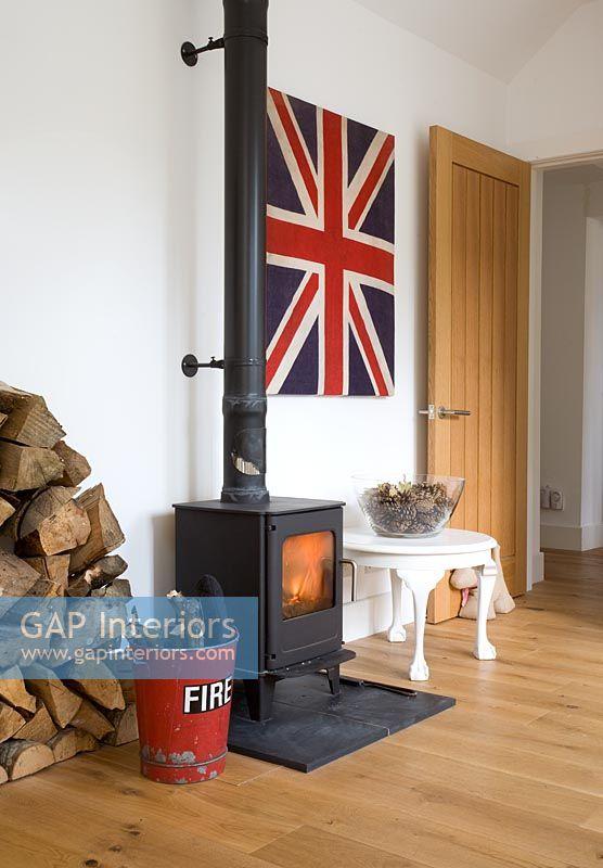 Gap Interiors Wood Burning Stove In Modern Living Room