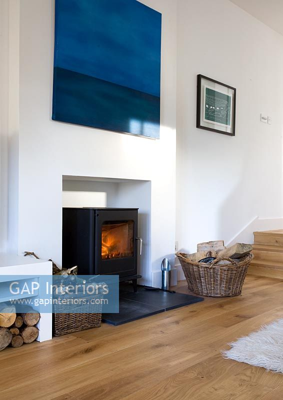 Gap Interiors Wood Burning Stove In Modern Living Room Image No 0052407 Photo By Douglas Gibb