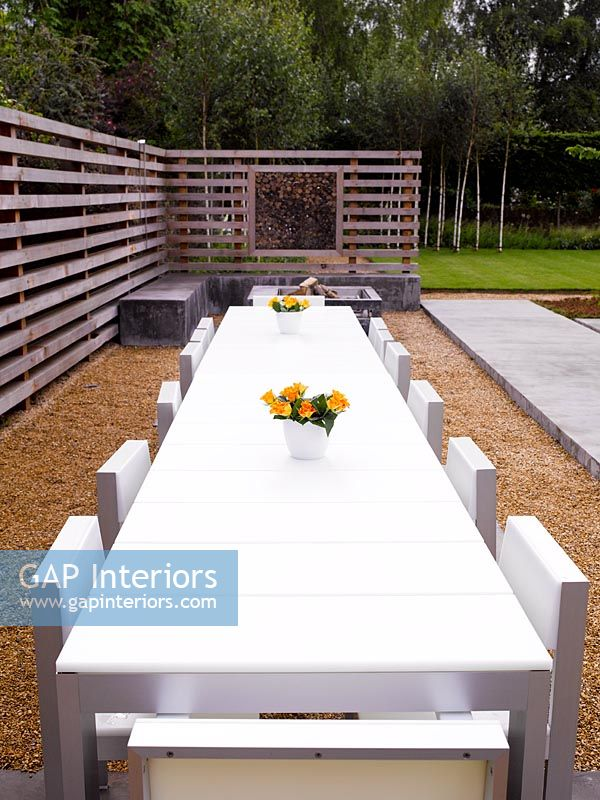 Garden Furniture On Gravel gap interiors - contemporary white garden furniture on gravel