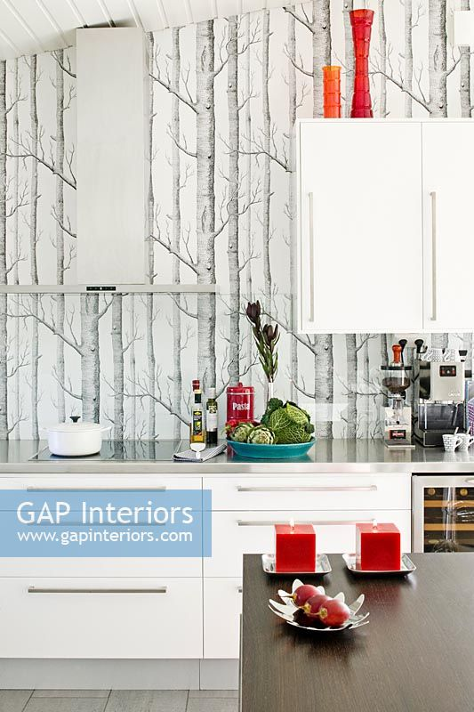Modern Kitchen With Tree Wallpaper Feature Wall