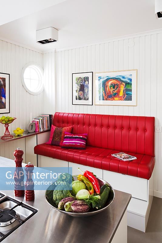 Red leather seat in modern kitchen