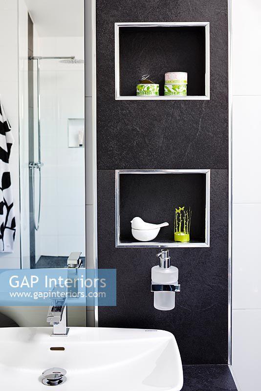 Alcove Shelves In Modern Bathroom