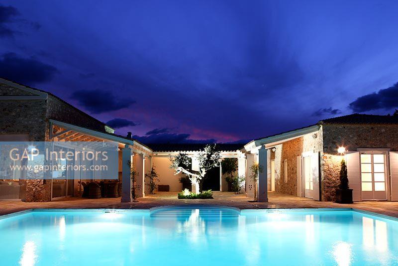 Gap Interiors Luxury Swimming Pool At Night Image No 0055051 Photo By Costas Picadas