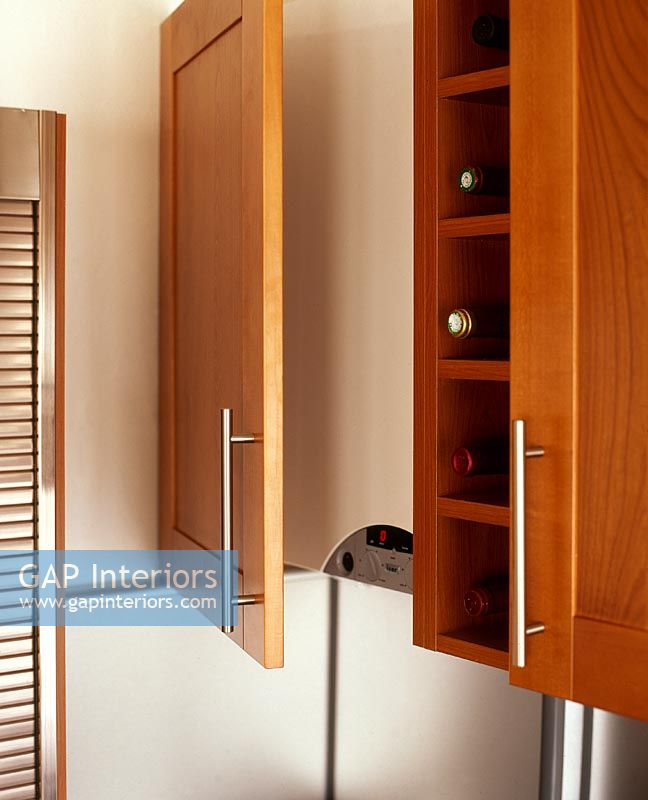 gap interiors kitchen unit housing boiler and wine rack