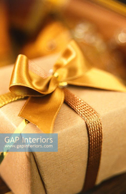 Detail of gold wrapped gift