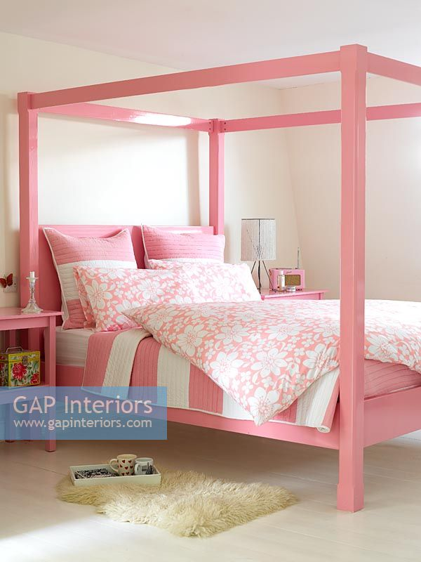 Gap Interiors Modern Pink Four Poster Bed Image No