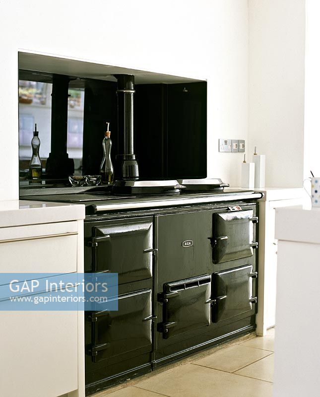 Kitchen Cabinets Uganda: Black Aga Stove In Modern Kitchen