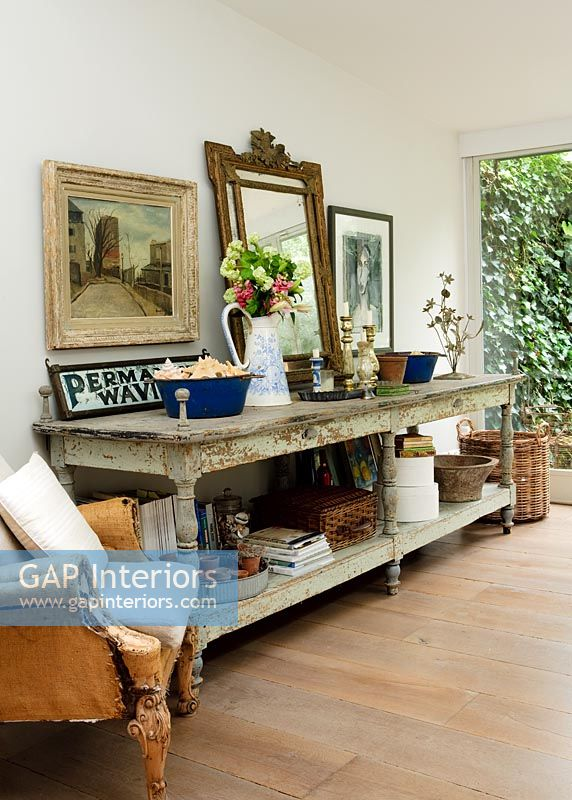 Classic living room with large console table