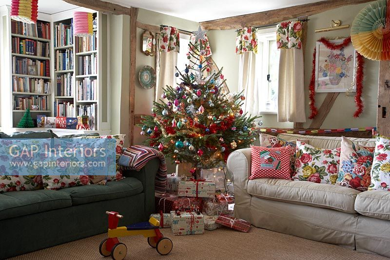 Christmas Tree In Country Living Room